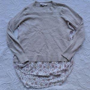 Loft Sweater Shirt Crew Neck Multimedia Layered